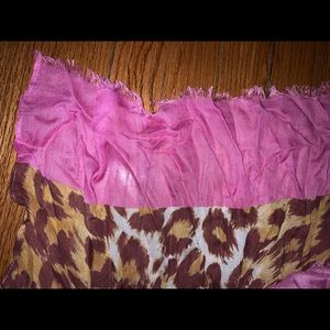 NWT Kate Spade scarf pink trim with leopard